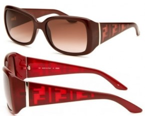 Fendi Women's Rectangle Sunglasses - Burgundy