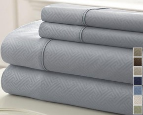Kensington Hotel Collection Sloan Embossed 4-Piece Sheet Set - Queen - Platinum