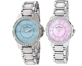 Anne Klein Ladies Swarovski Stainless Steel Quartz Watch - Silver & Purple - 10-9661PMSV