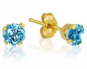 10kt Yellow Gold Gemstone Earrings - Blue Topaz