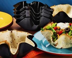 Molded Tortilla Taco Bowl Pan Set - Set of 4