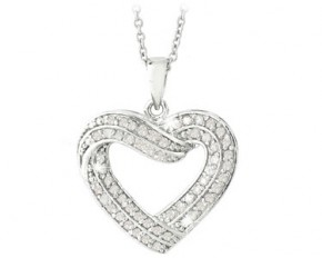 0.50ct TDW Diamond Open Heart Necklace