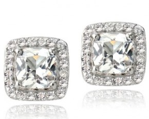 Sterling Silver 3.5 Carat Created White Sapphire Square Cushion-Cut Stud Earrings