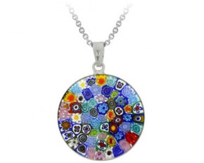 Sterling Silver Millefiori Flower Murano Glass Circle Pendant