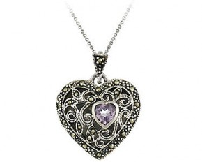 Sterling Silver Marcasite and Amethyst Filigree Heart Locket Pendant