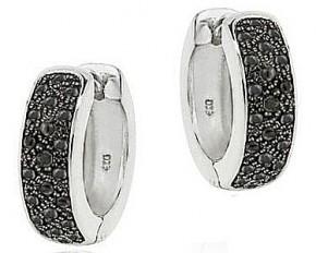 Sterling Silver Black Diamond Accent Huggies Hoop Earrings