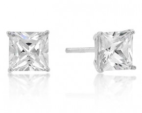 Michelle Mies White Gold Rhodium 4mm Princess Cut Cubic Zirconia Sterling Studs