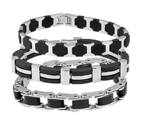 Men's Stainless Steel and Rubber Chain Bracelet