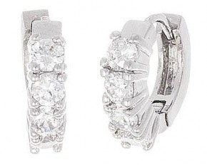 Lesa Michelle Silver Plated Huggie Earrings with Round Simulated Diamonds - White