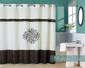 Radcliff Embroidered Shower Curtain with Grommets - Taupe