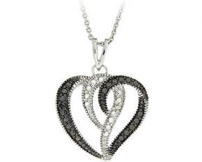 Sterling Silver Diamond Accents Heart Pendant - Black & White