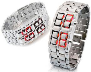 Lava Style Men's Iron Samurai Faceless Metal Red LED Digital Watch - Silver