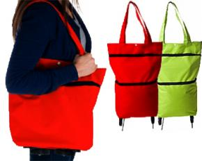 Eco-Friendly Foldable Two-Way Shopping Bag - Red