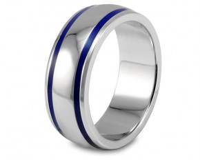Domed Polished Stainless Steel Ring with Blue Enamel Lines - Size 10.5