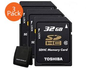 Toshiba 32GB Class 10 SDHC Memory Card - 3 Pack with Memory Card Wallet