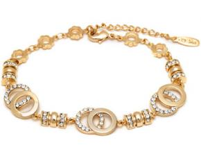 Sevil Designs Gold and Sparkle Double Disc Bracelet
