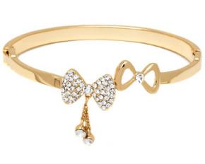 Sevil Designs Gold and Sparkle Double Bow Bangle