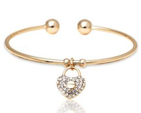 Sevil Designs Gold and Sparkle Heart Lock Charm Bangle