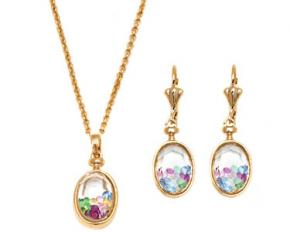 Sevil Designs Gold and Multi Color Crystal Drop Pendant and Earrings Set - Oval