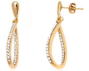 Sevil Designs Gold and Sparkle Teardrop Earrings