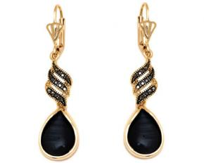 Sevil Designs Gold and Crystal Teardrop Earrings - Black