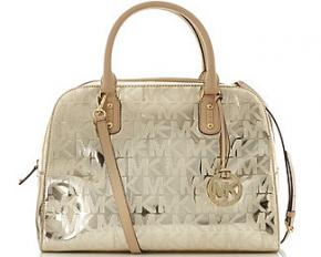 Michael Kors MK Signature Mirror Metallic XS Satchel - Pale Gold