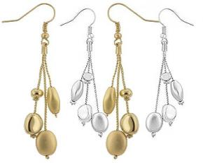 Michelle Mies Beaded Dangle Drop Earrings - Silvertone