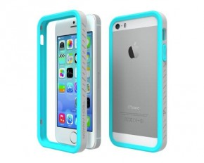 Tech Armor Edge Protect Grip Scratch-Resistant Bumper Case for iPhone 5S / 5 - Turquoise & Gray