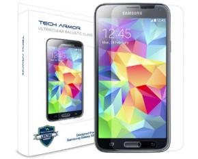 Tech Armor Samsung Galaxy S5 Home Bundle - Glass Screen Protector, 6-Feet Micro USB, 3.1AMP Wall Charger