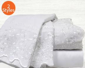 Colonial Home Textiles Lace Embrodiery Microfiber Sheet Set - Queen - Ivory