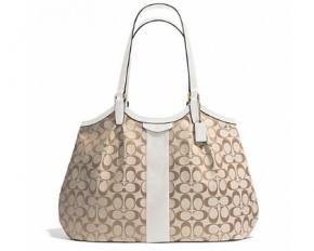 Coach Devin Signature Stripe Women's Tote Handbag - Light Khaki / Ivory
