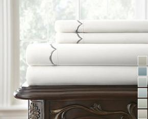 Kensington Hotel Embroidered Scalloped Hem 4-Piece Sheet Set - Queen - White