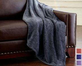 CHT Home Heathered Fleece Throw - Brick