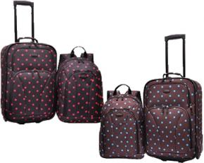 U.S. Traveler 2-Piece Polka Dot Carry-On Rolling Upright and Backpack Luggage Set - Turquoise & Brown