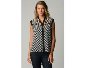 Dinamit Women's Plus Size Chiffon Checkered Shirt - XL
