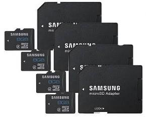Samsung 8GB microSD Memory Card w/Adapter - Pack of 4