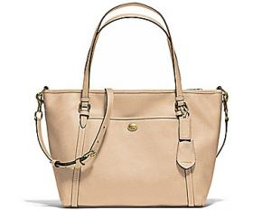 Coach Peyton Leather Pocket Tote - Brass/Sand