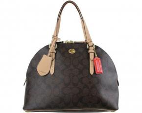 Coach Peyton Signature Domed Cora Satchel - Brown/Tan