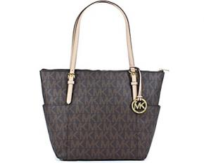 Michael Kors Jet Set EW Top Zip Tote PVC MK Signature - Brown