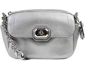 Coach Campbell Turnlock Leather Crossbody Bag - Silver