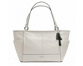 Coach Park Leather Carrie Tote - Silver / Parchment