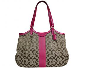 Coach Signature Stripe Devin Shoulder Bag - Khaki/Fuchisa