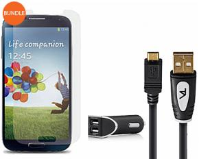 Tech Armor Samsung Galaxy S4 Car Bundle - Glass Screen Protector, 6-Feet Micro USB, Car Charger