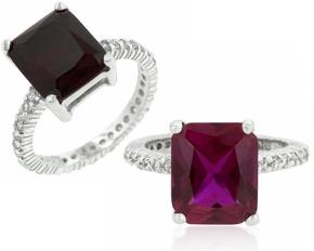 Michelle Mies Princess Cut Engagement Ring - Size 7 - Ruby