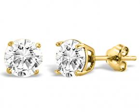 Swarovski Elements Stud Earrings - Goldtone