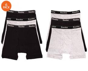 Knocker Men's 6 Pack of 100% Cotton Boxer Briefs - White/Black/Gray - Large