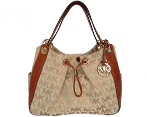 Michael Kors Ludlow Large Signature Jacquard Shoulder Bag - Beige/Camel/Luggage