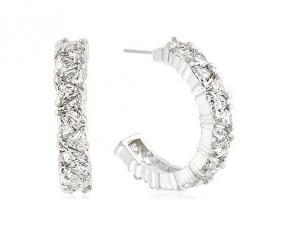 Michelle Mies Trillion Cut Cubic Zirconia Hoop Earrings