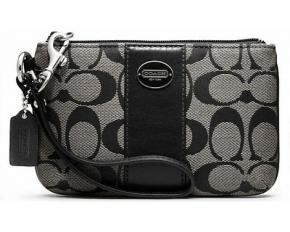Coach Legacy Signature Small Wristlet - Black/White