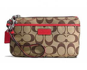 Coach Park Signature Medium Wristlet - Khaki/Vermillion